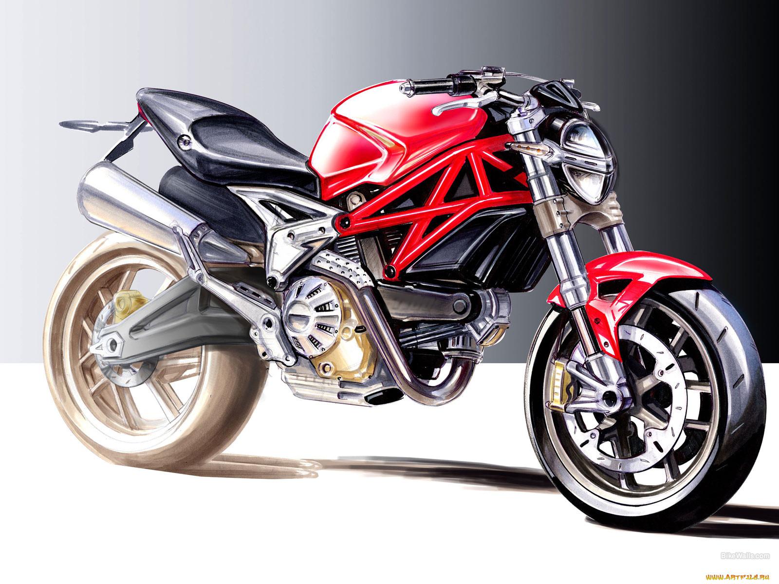 красный мотоцикл картинки рисунки шары, которыми